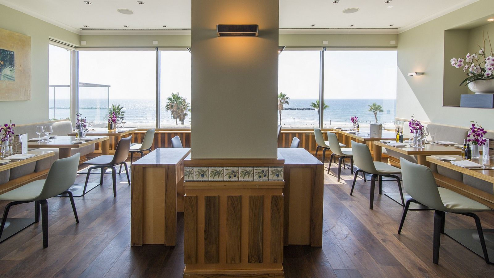 Olive Leaf Restaurant at Sheraton Tel Aviv Hotel indoor with view