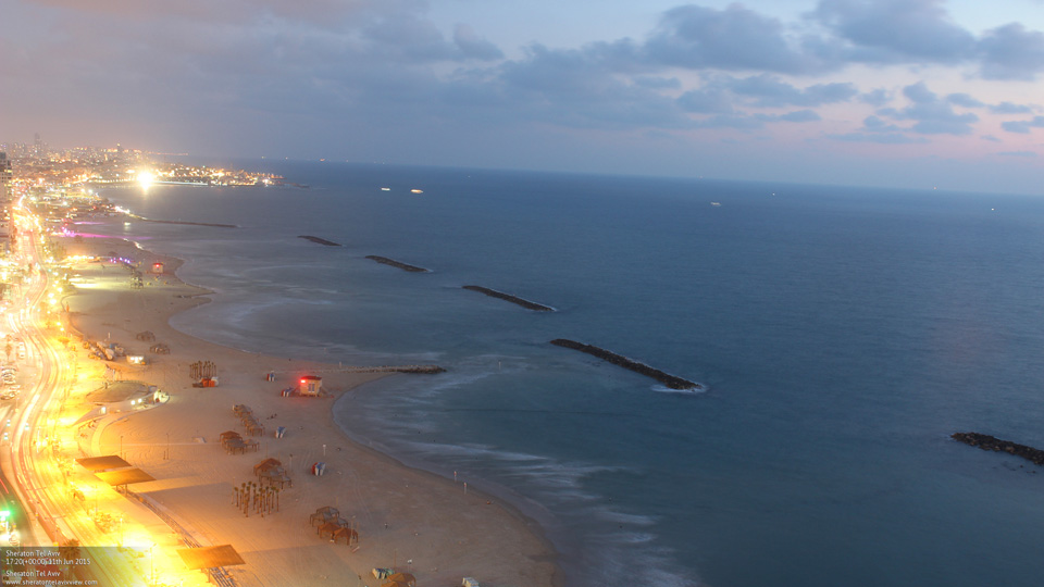 Busy nightlife as seen from Sheraton Tel Aviv Hotel